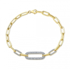 Yellow Gold Three Station Paper Clip Chain Bracelet