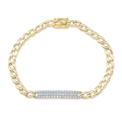 Yellow Gold Pave Id Link Bracelet