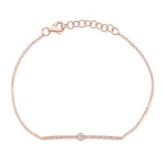 Rose Gold Diamond Bezel Bar Bracelet