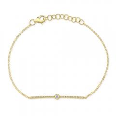 Yellow Gold Diamond Bezel Bar Bracelet