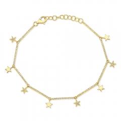 Yellow Gold Dainty Star Charm Bracelet