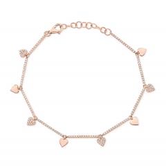 Rose Gold Dainty Heart Charm Bracelet