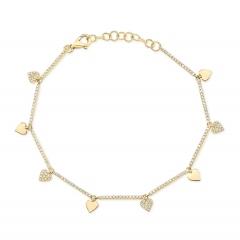 Yellow Gold Dainty Heart Charm Bracelet