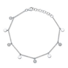 White Gold Dainty Disc Charm Bracelet