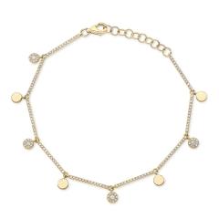 Yellow Gold Dainty Disc Charm Bracelet