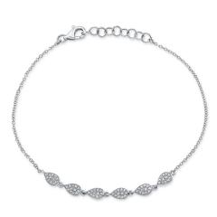 White Gold Dainty Pave Pear Shape Bracelet