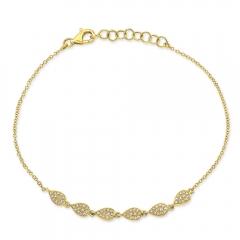 Yellow Gold Dainty Pave Pear Shape Bracelet