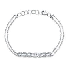 White Gold Dainty 7 Station Baguette Cluster Bracelet