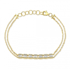 Yellow Gold Dainty 7 Station Baguette Cluster Bracelet