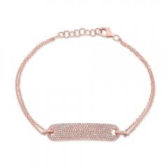 Rose Gold Pave Diamond ID Bracelet