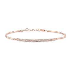 Rose Gold Semi Flexible Long Bar Bracelet