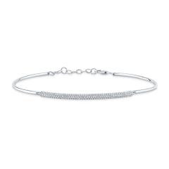 White Gold Semi Flexible Long Bar Bracelet