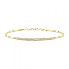 Yellow Gold Semi Flexible Long Bar Bracelet