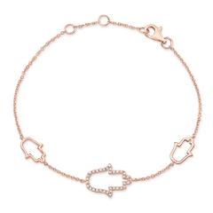 Rose Gold Piety 3 Stationed Hamsa Bracelet
