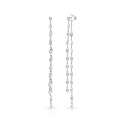White Gold Bezel Chain Drop Earrings