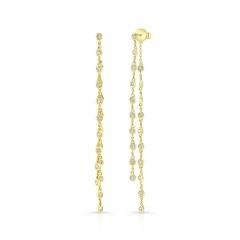 Yellow Gold Bezel Chain Drop Earrings