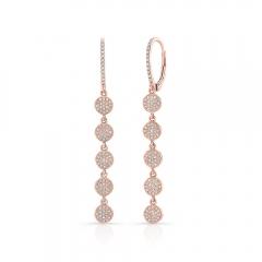Rose Gold Dangling Disc Earrings