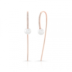 Yellow Gold Pearl Ear Threaders