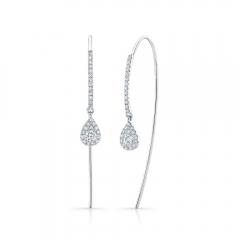 White Gold Pear Shape Ear Threaders