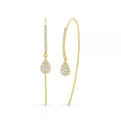 Yellow Gold Pear Shape Ear Threaders