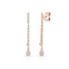 Rose Gold Dangling Pear Shape Earrings