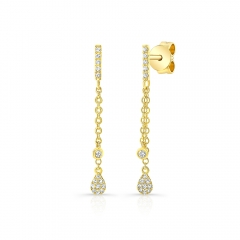 Yellow Gold Dangling Pear Shape Earrings
