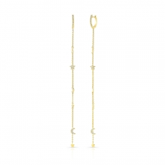 Single Yellow Gold Dangling Moon And Stars Earring