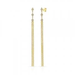 Yellow Gold Diamond Shaped Dangling Tassel Earrings