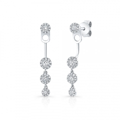White Gold Halo Studs With Dangling Halo Ear Jacket