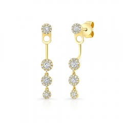 Yellow Gold Halo Studs With Dangling Halo Ear Jacket