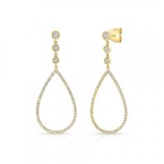 Yellow Gold Open Pear Shape Drop Earring