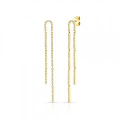 Yellow Gold U Shaped Drop Earrings
