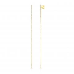 Yellow Gold Diamond Bar Earrings With Drop Chain