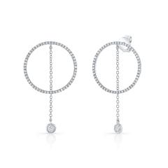 White Gold Drop Chain Circle Earrings