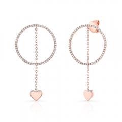 Rose Gold Hanging Heart Circle Earrings