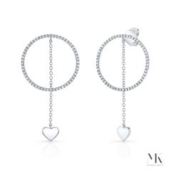 White Gold Hanging Heart Circle Earrings