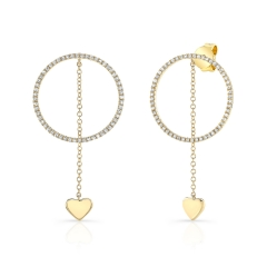 Yellow Gold Hanging Heart Circle Earrings