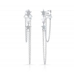 White Gold Dangling Star Earrings