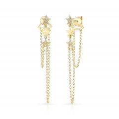 Yellow Gold Dangling Star Earrings