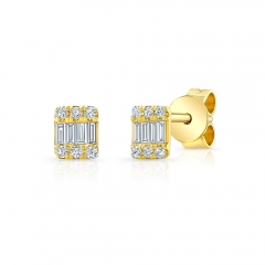 Yellow Gold Petite Baguette Cluster Studs