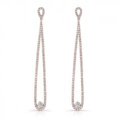 Rose Gold Forevermark Long Drop Earrings