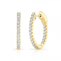 Yellow Gold 3/4 Inch Oval Hoops