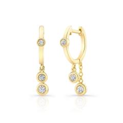 Yellow Gold Diamond Bezel Dangling Huggie Hoops
