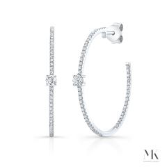White Gold Diamond Studded Hoops