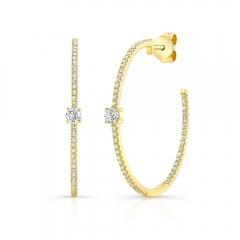 Yellow Gold Diamond Studded Hoops