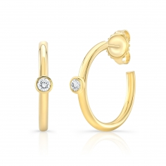 Yellow Gold Forevermark Diamond Bezel 1/2 Inch Hoops