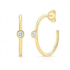 Yellow Gold Forevermark Diamond Bezel 1 Inch Hoops