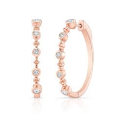 Rose Gold Forevermark Bead And Bezel 1.25 Inch Hoops