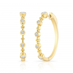 Yellow Gold Forevermark Bead And Bezel 1.25 Inch Hoops
