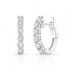 White Gold Forevermark 1/2 Inch Prong Set Diamond Hoops